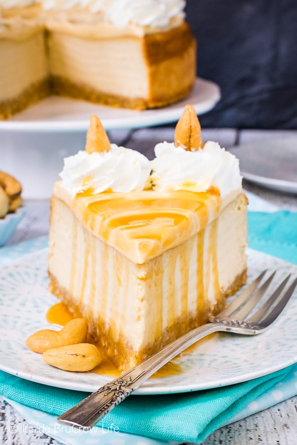 Caramel Cashew Cheesecake - caramel drizzles, caramel cream, and caramel cheesecake gives this homemade cheesecake an impressive look and flavor. Great recipe for parties or events! #cheesecake #caramel #homemadewhippedcream #recipe #cashews