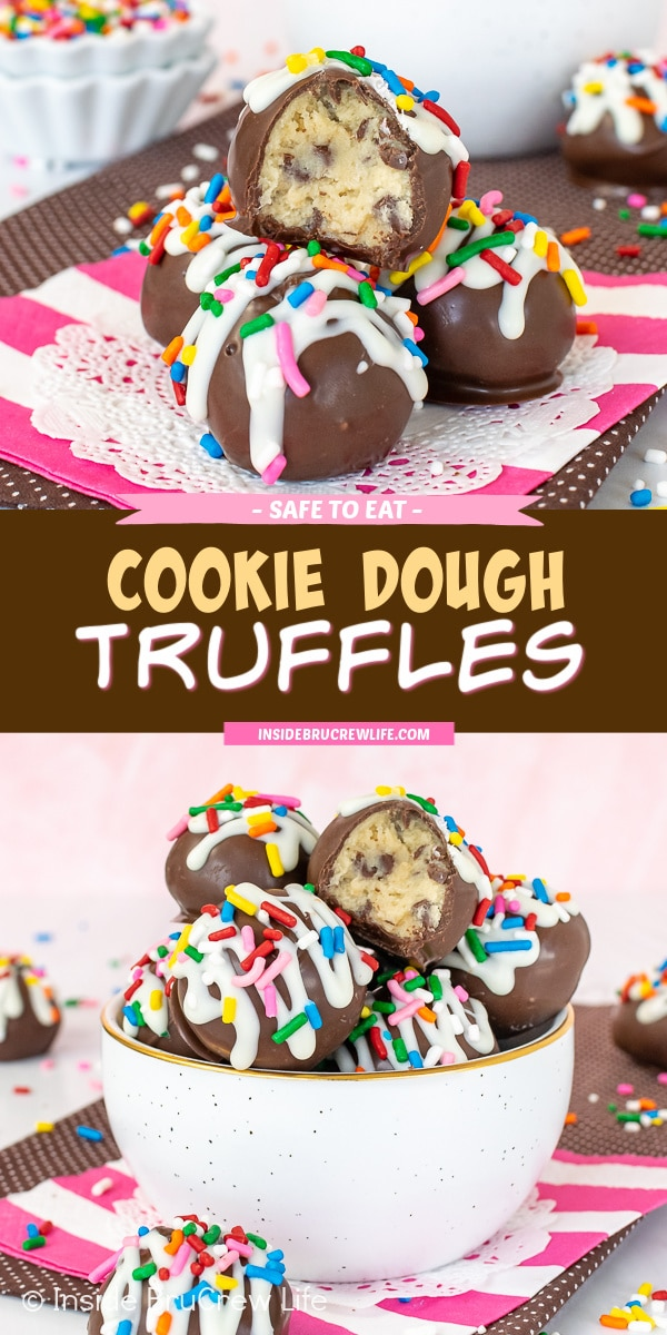 Two pictures of cookie dough truffles collaged together with a dark brown text box