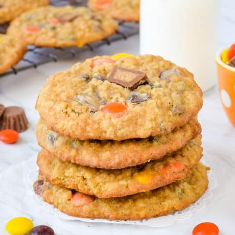 A stack of four peanut butter banana oatmeal cookies