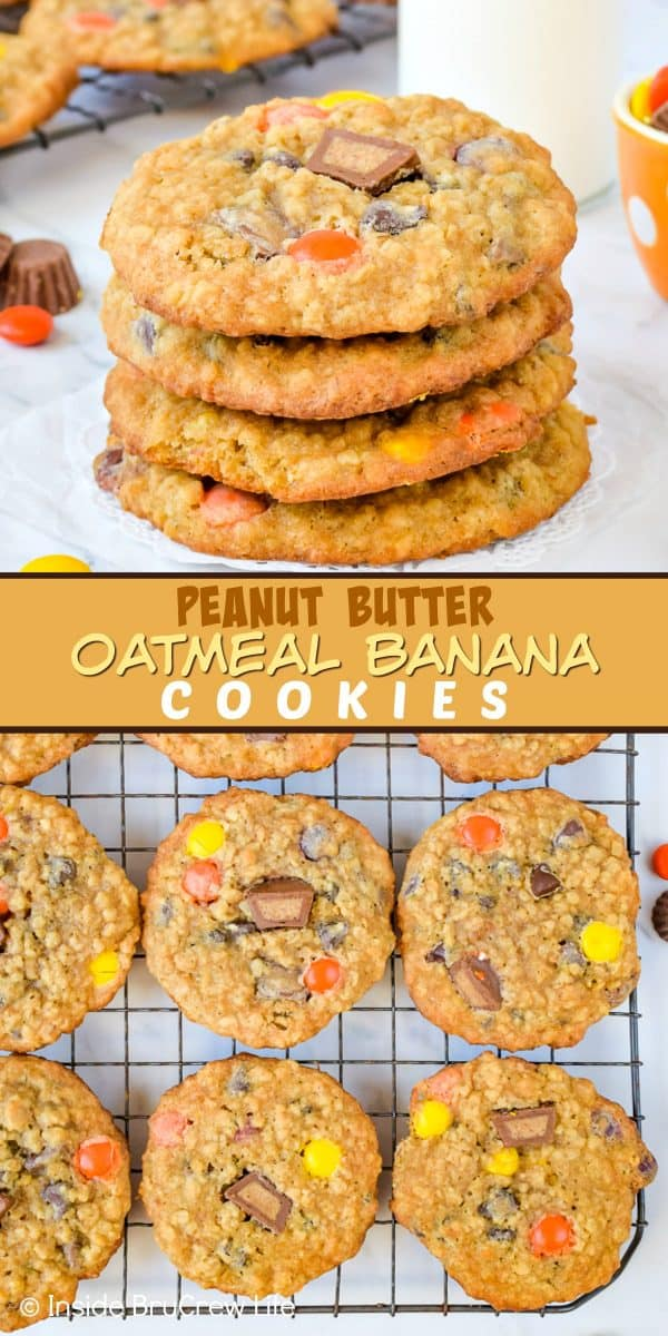 Two pictures of peanut butter oatmeal banana cookies collaged together with a tan text box