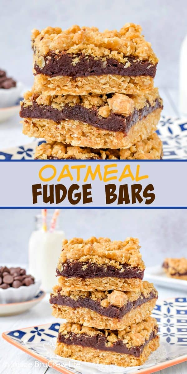 Oatmeal Fudge Bars - the creamy chocolate center inside these crumble cookie bars makes them taste so good. Try adding ice cream to a warm oatmeal bar for a really awesome dessert! #oatmeal #cookiebars #fudge #easy #recipe
