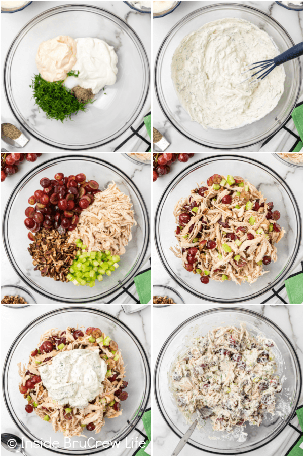 Six pictures collaged together showing the steps to mixing up a bowl of chicken salad with grapes and pecans.