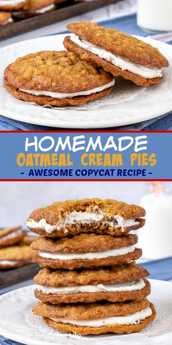 Homemade Oatmeal Cream Pies - the marshmallow filling inside these soft chewy cookies makes them a delicious copycat of the store bought treats. Great recipe to make for bake sales or after school snacks.