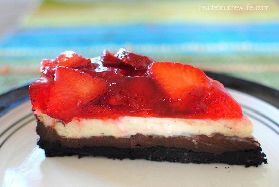 A slice of Strawberry Chocolate Cheesecake on a plate