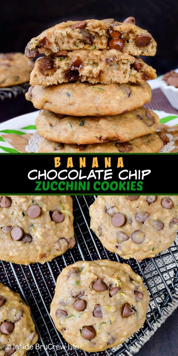 Banana Chocolate Chip Zucchini Cookies - adding banana and shredded zucchini to chocolate chip cookies makes them the softest and puffiest cookie ever! Try this easy recipe for dessert this week! #cookies #banana #zucchini #chocolatechipcookies #backtoschool #cookiejar #recipe