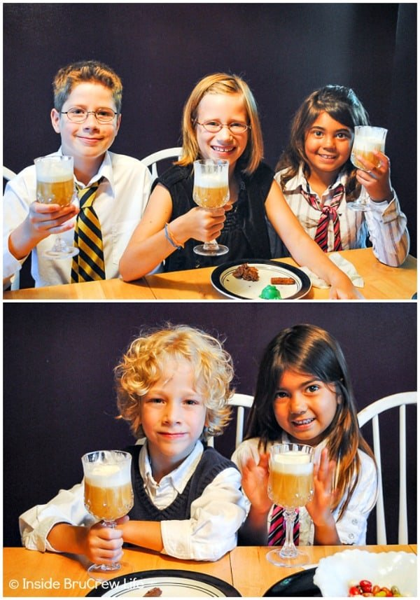 Harry Potter Tea Party - homemade Butter Beer is a must at your Harry Potter themed tea party. #harrypotter #wizardingworld #teaparty #themedparty