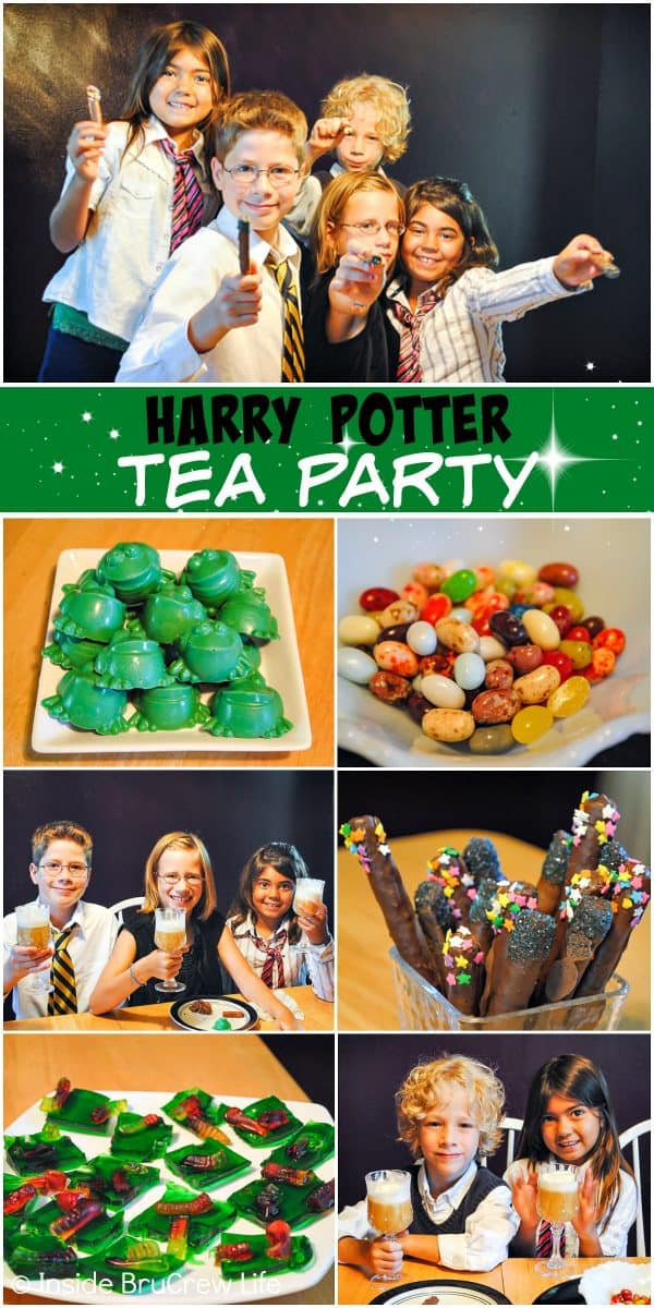 Harry Potter Tea Party - a fun and magical tea party filled with Butter Bear and movie inspired food will entertain and thrill Harry Potter fans. #harrypotter #wizardingworld #teaparty #themedparty