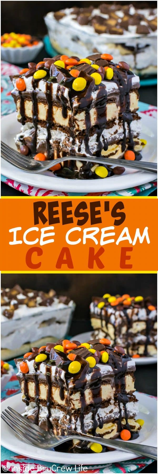 Reese's Ice Cream Cake - candy and hot fudge transforms ice cream sandwiches into a gourmet ice cream cake! Awesome and easy summer recipe for any party! #icecreamcake #diyicecreamcake #icecreamsandwiches #peanutbuttercups #summer