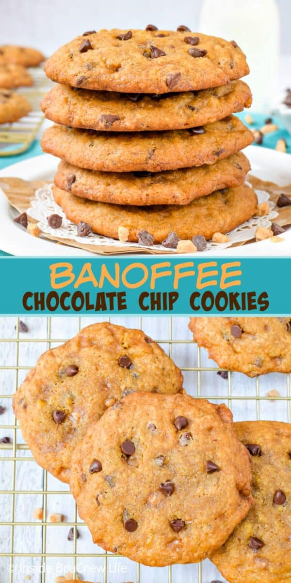 Banoffee Chocolate Chip Cookies - toffee bits and banana make these homemade chocolate chip cookies taste amazing. Make this easy recipe with the ripe bananas on your counter this week. #cookies #banana #toffee #banoffee #chocolatechipcookies #bakesale