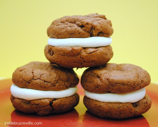 Chocolate espresso cookies filled with marshmallows to create a fun s'mores cookie.