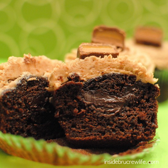... cupcakes with a hidden chocolate center and Milky Way frosting