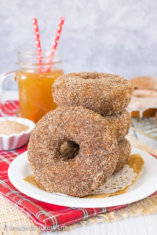 A white plate with a stack of apple cider donuts on it with another donut leaning against the stack