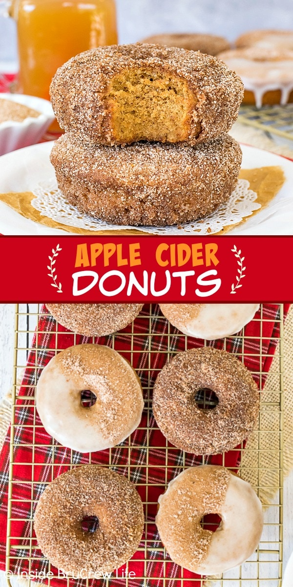 Two pictures of Apple Cider Donuts collaged together with a red text box