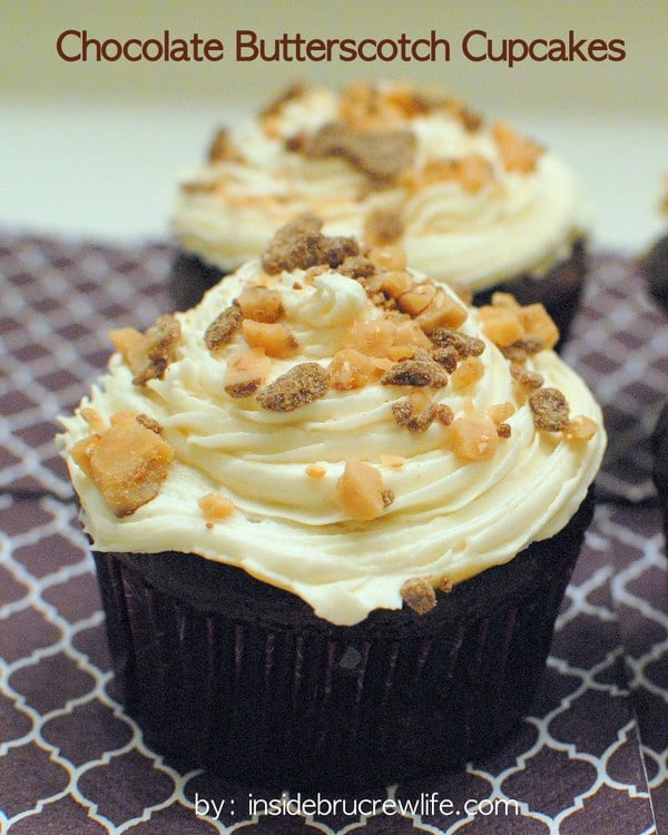 Chocolate Butterscotch Cupcakes - decadent chocolate cupcakes topped with butterscotch frosting and toffee bits
