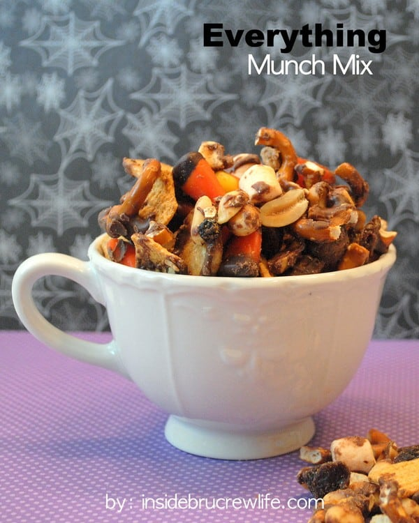Everything Munch Mix - clean out  everything in your cupboards and coat it in chocolate for a fun snack mix