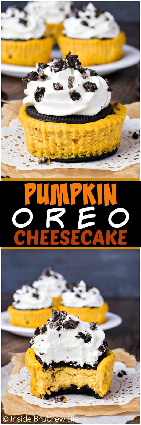 Two pictures of pumpkin oreo cheesecakes collaged together with a black text box