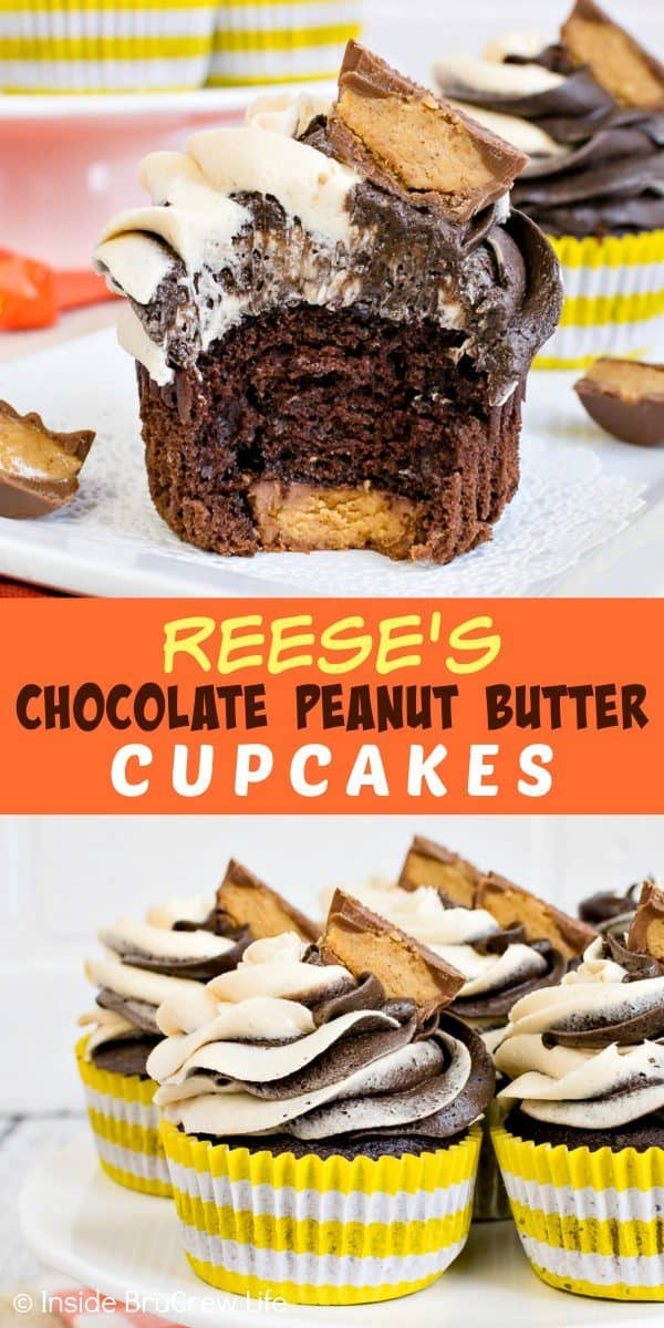 Reese's Chocolate Peanut Butter Cupcakes - swirls of homemade peanut butter and chocolate frosting and hidden peanut butter cups make this the perfect cupcake recipe for peanut butter lovers! #cupcakes #chocolate #peanutbutter #reeses #peanutbuttercups #frosting