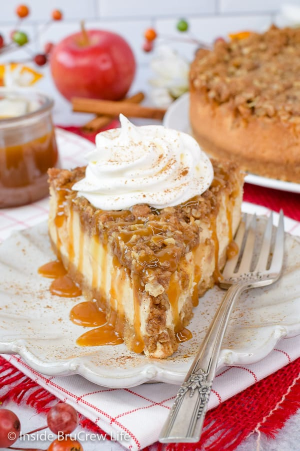 Apple Crisp Cheesecake - layers of crisp topping and apples baked on a creamy cheesecake makes a great dessert. Try this easy recipe for fall dinners or parties. #cheesecake #apple #applecrisp #fall #dessert #recipe