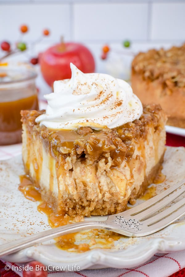 Apple Crisp Cheesecake - creamy cheesecake topped with apples and a crisp topping makes the best fall dessert for parties or dinners. #cheesecake #apple #applecrisp #fall #dessert #recipe