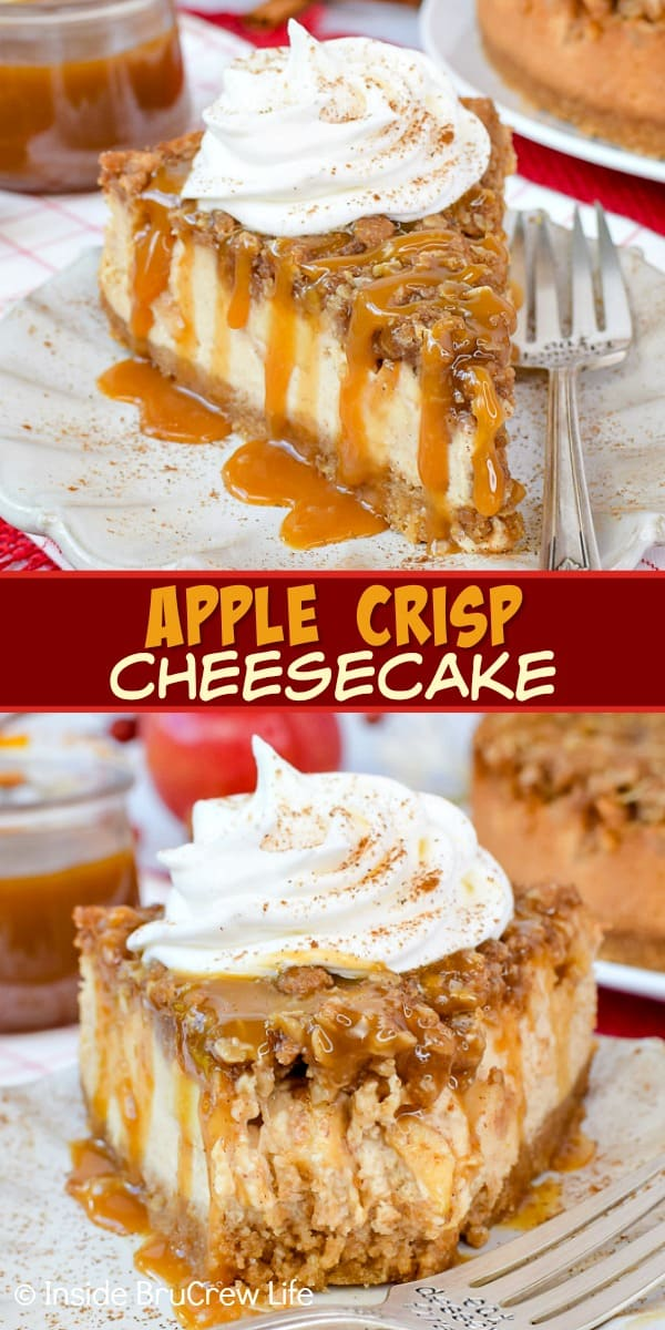 Apple Crisp Cheesecake - layers of a crisp oatmeal topping, fresh apples, and creamy cheesecake makes an amazing dessert. Make this easy recipe for fall parties and dinners. #cheesecake #apple #applecrisp #fall #dessert #recipe