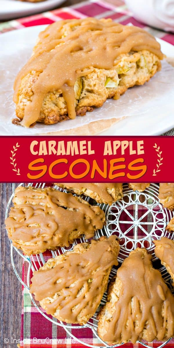 Caramel Apple Scones - the soft flakey apple scones drizzled with a sweet caramel glaze will have you reaching for more. Make this recipe for breakfast this fall. #scones #apple #caramel #homemade #recipe #fall #breakfast
