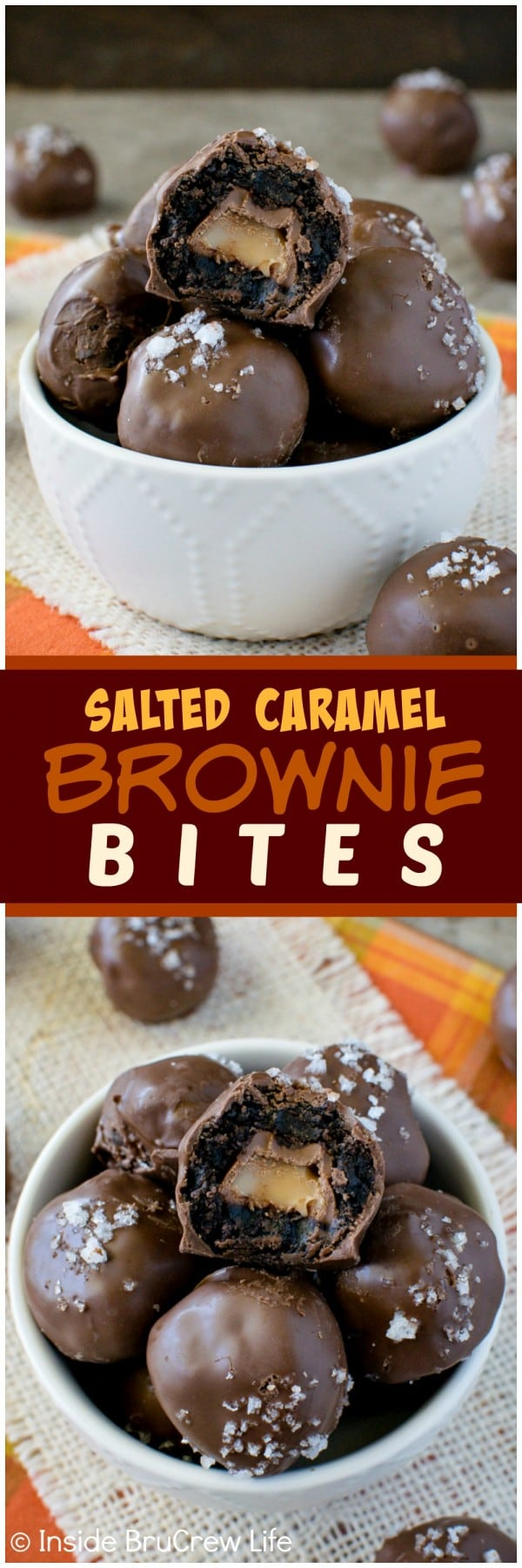 Salted Caramel Brownie Bites - hiding caramel candies inside brownie bites makes these treats disappear in a hurry. Great dessert recipe for parties or gifts! #sweetandsalty #browniebites #caramel #saltedcaramel #chocolate