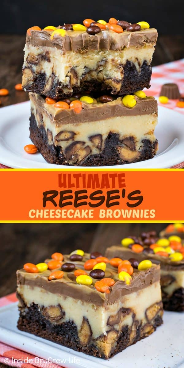 Ultimate Reese's Cheesecake Brownies - swirls of peanut butter and chocolate and lots of Reese's candies turn these cheesecake bars into the best brownies ever! Make this recipe for parties and watch everyone go nuts for them! #cheesecake #brownies #peanutbutter #reesespeanutbuttercups #reesesdessert #cheesecakebrownies #recipe