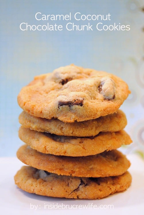 Coconut and caramel give these chocolate chunk cookies a fun twist