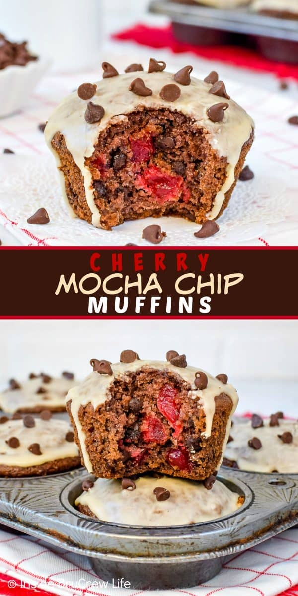 Cherry Mocha Chip Muffins - these easy homemade mocha muffins are loaded with chocolate chips and cherry chunks. Make this easy recipe for breakfast or brunch! #muffins #mocha #cherry #breakfast #chocolate