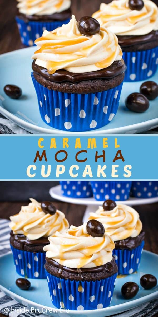 Caramel Mocha Cupcakes - the chocolate topping and caramel frosting swirls make these easy chocolate cupcakes look like they came from a bakery. Make this delicious recipe for all your parties and watch everyone devour them. #cupcakes #chocolate #caramel #mocha #dessert #easy #recipe