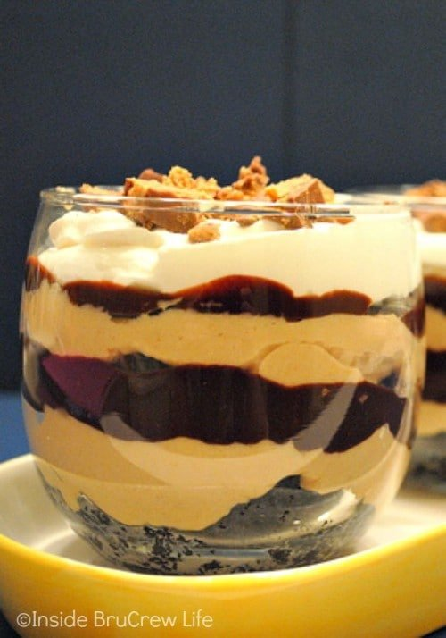 Layers of peanut butter, chocolate, and peanut butter cups will make these parfaits disappear in a hurry!