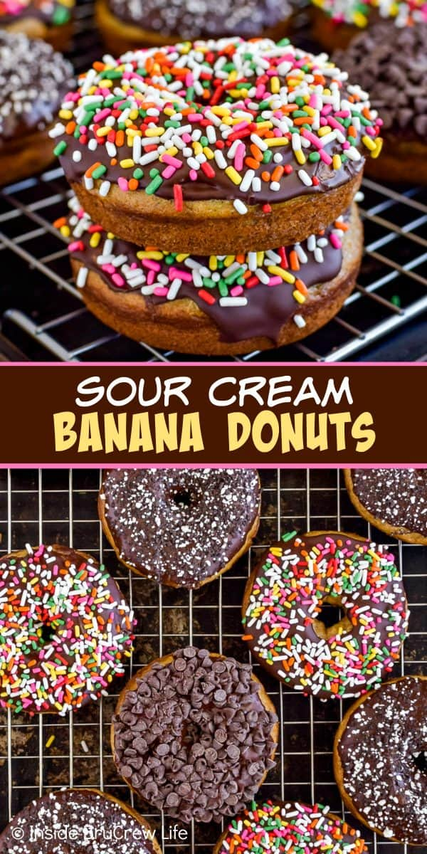 Sour Cream Banana Donuts - chocolate and sprinkles make these homemade banana donuts so pretty and so delicious! Great recipe to make for breakfast or an afternoon snack! #banana #donuts #chocolate #bakeddonuts