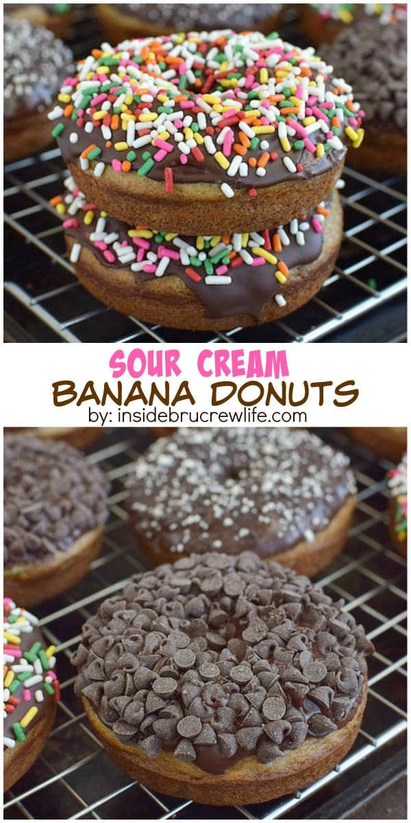 These homemade banana donuts dipped in chocolate and sprinkles are such a fun way to use up those ripe bananas!