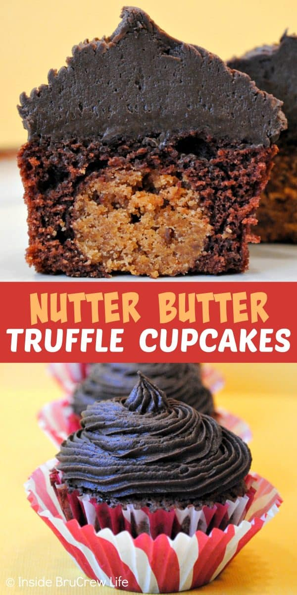 Nutter Butter Truffle Cupcakes - a hidden Nutter Butter truffle and homemade chocolate frosting make these brownie cupcakes amazing. Make this easy stuffed cupcake recipe for parties, events, or bake sales. #brownies #chocolate #peanutbutter #frosting