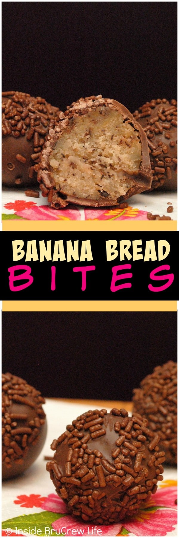 Banana Bread Bites - roll banana bread into small donut shapes and dip them in chocolate for a fun twist to breakfast. Easy recipe!