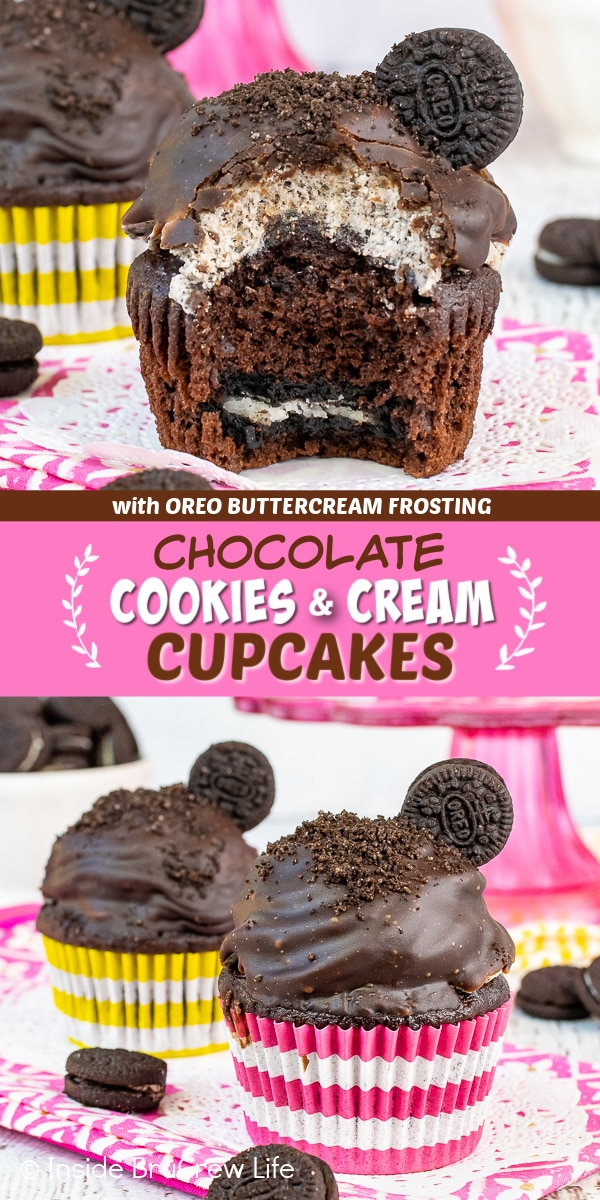 Two pictures of chocolate cookies and cream cupcakes collaged together with a pink text box