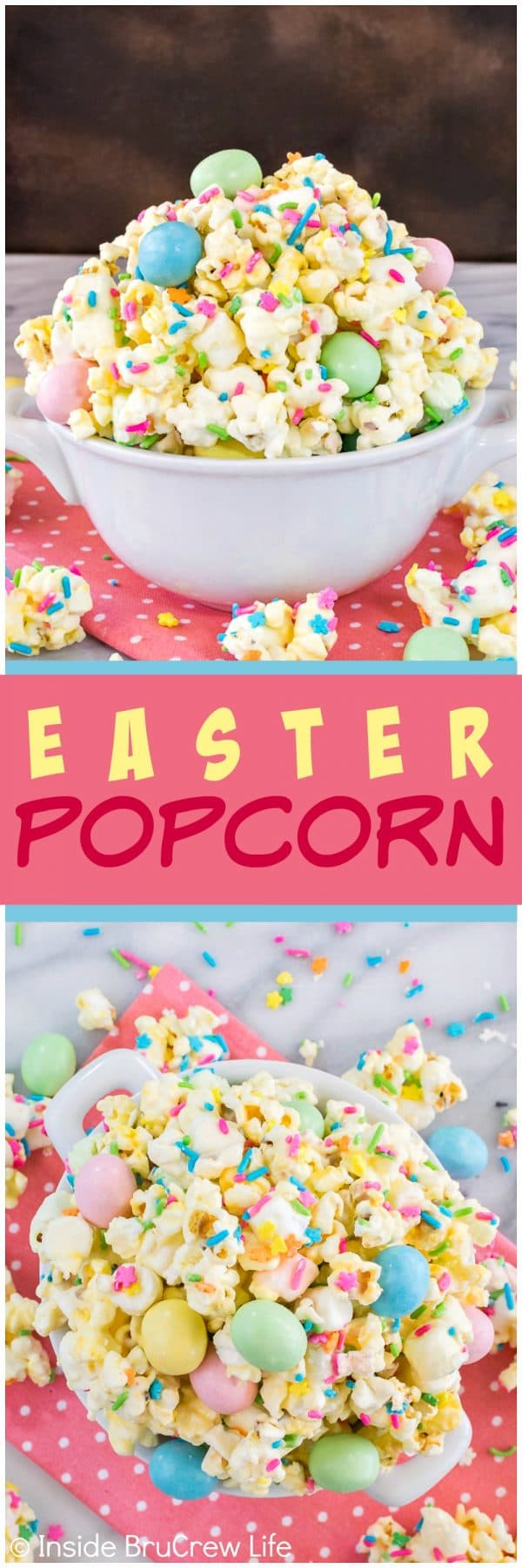 Easter Popcorn - this easy white chocolate covered popcorn is loaded with colorful sprinkles and candy. Great no bake snack mix recipe that is great for sharing at parties or filling Easter baskets. #easter #popcorn #snackmix #chocolatecoveredpopcorn #bunnybait #eastercandy