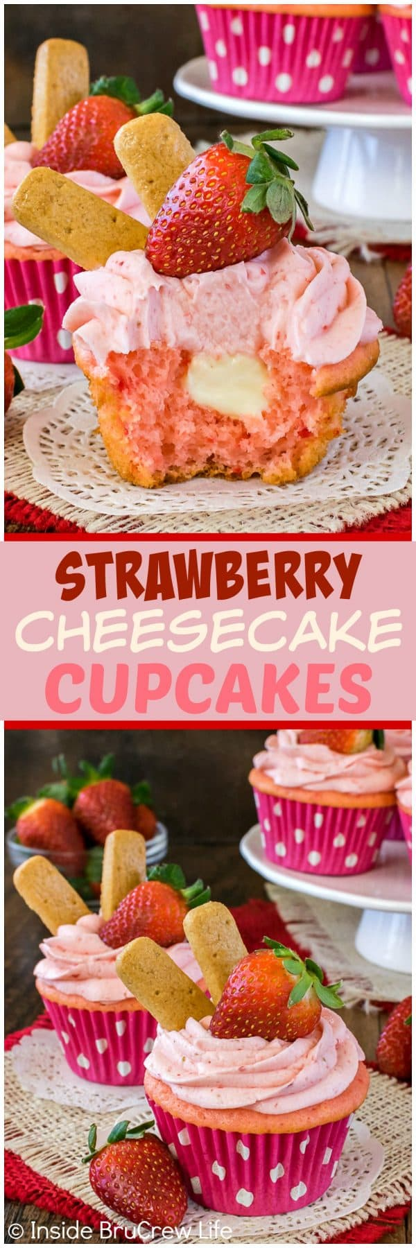Two pictures of strawberry cheesecake cupcakes collaged together with a pink text box
