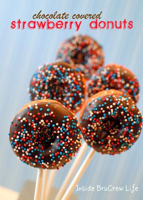 Chocolate Covered Strawberry Donuts - easy baked strawberry donuts dipped in chocolate