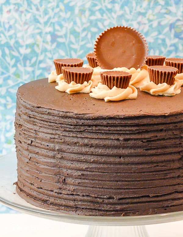 Peanut Butter Explosion Chocolate Cake - layers of chocolate and peanut butter frosting make this easy chocolate cake an impressive dessert. Make this recipe for parties or bake sales! #chocolatecake #chocolate #peanutbutter #cake