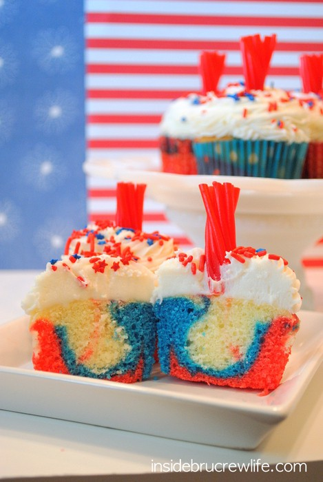 Firecracker Cupcakes - red, white, and blue cupcakes with a licorice topper