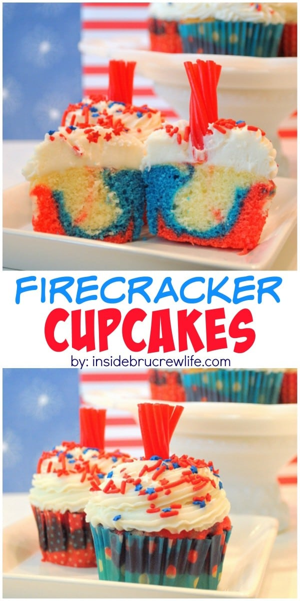 A licorice candy topper makes these fun red, white, and blue cupcakes look like firecrackers.