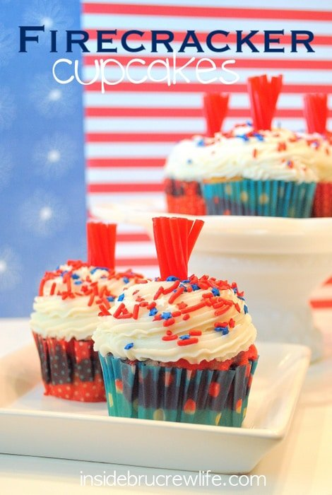 These fun red, white, and blue cupcakes have a licorice topper.  Perfect for Fourth of July picnics!