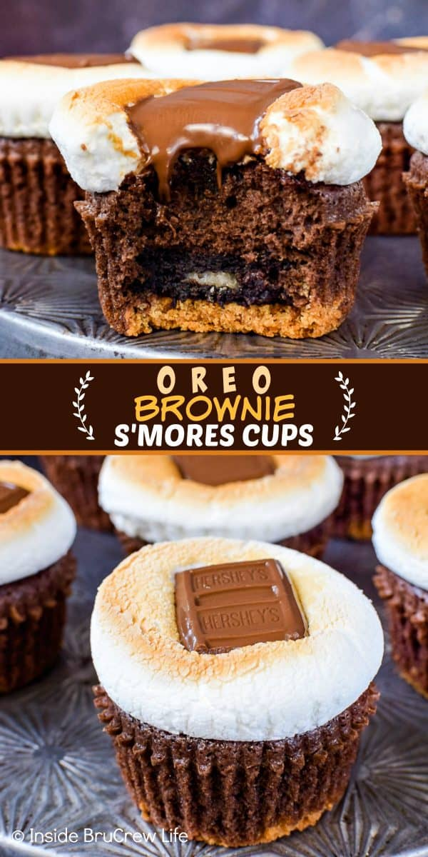 Oreo Brownie S'mores Cups - candy bars, toasted marshmallows, and a graham cracker crust add a fun s'mores twist to these brownie cupcakes! Make this easy recipe for any party or event. #brownies #browniecups #smores #toastedmarshmallow #oreos #summerdessert