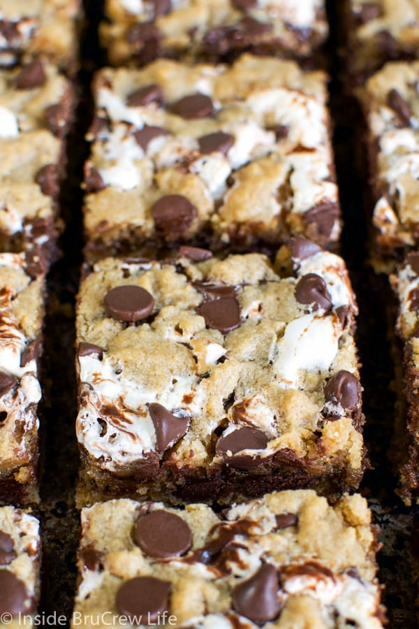 Peanut Butter S'more Blondies - swirls of fudge and marshmallow inside these peanut butter blondies will get thumbs up from everyone.