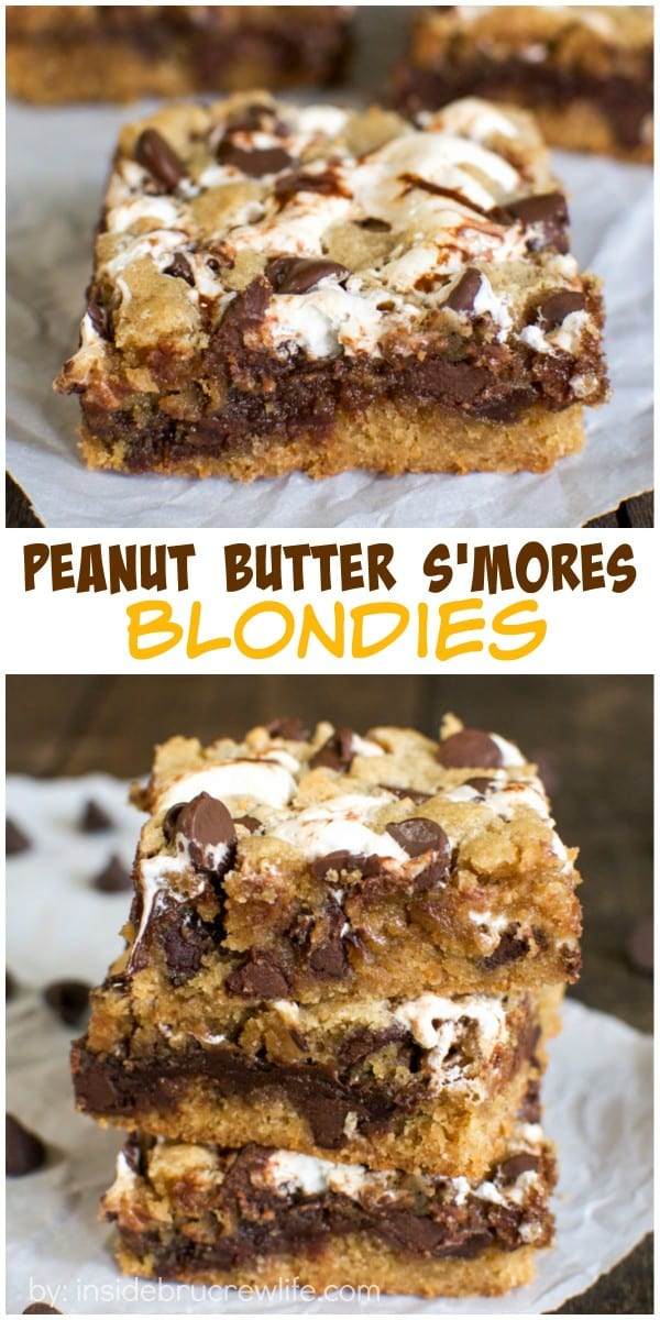 Marshmallow and fudge swirls give these peanut butter blondies a fun s'mores taste!