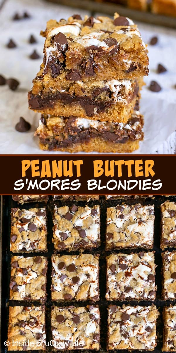 Two pictures of Peanut Butter S'mores Blondies collaged together with a brown text box