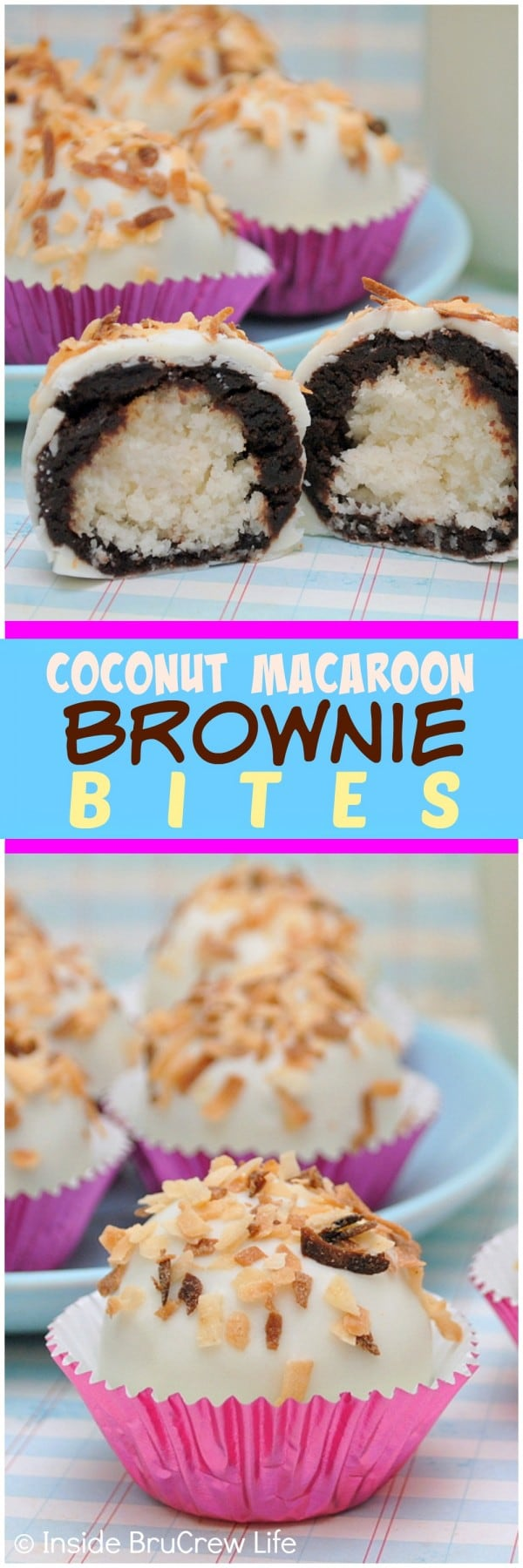 Hiding coconut candies or truffles inside brownies makes these Coconut Macaroon Brownie Bites perfect for dessert snacking! Great Easter recipe!