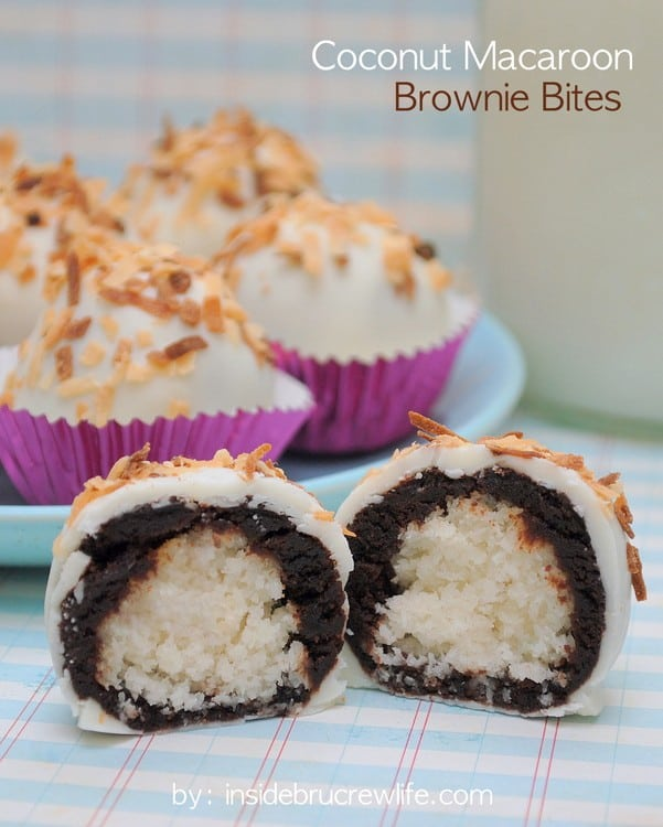 Coconut Macaroon Brownie Bites recipe - coconut, brownies, and white chocolate in one delicious brownie bite