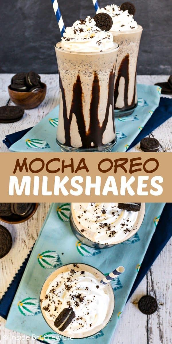 Mocha Oreo Milkshakes - cookies and coffee turn this easy milkshake into a fancy gourmet drink. Great copycat of those coffee shop drinks. Try this easy recipe on a hot summer day! #milkshake #summer #coffee #mocha #oreocookies #nobake